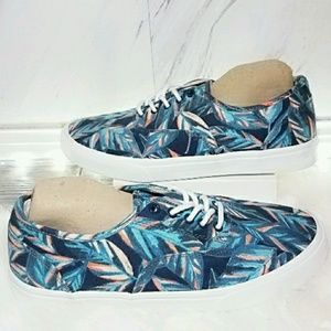 Shoes - Tropical Boat Shoes Sneakers Tennis Blue Leaf 8
